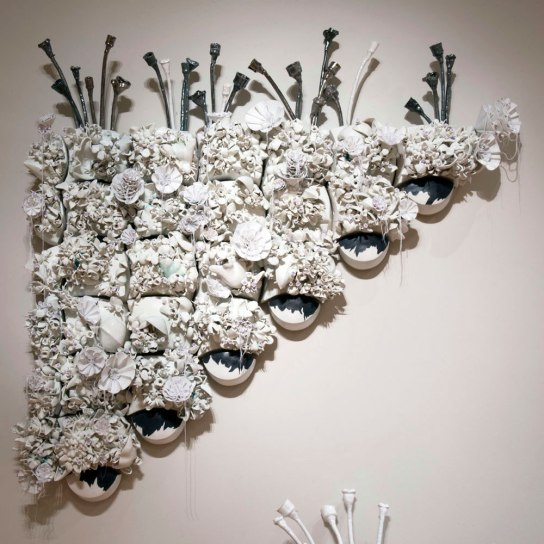 "Unintended Consequences, 2013-2014, wall piece, porcelain, wood, foam, thread, 88"" x 81"" x 15"""