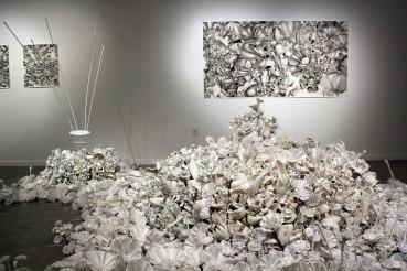 "Organic Dissolution, 2012-2013, room installation. Floor; porcelain, acrylic, foam, thread. Drawings: graphite, watercolor, 84"" x 42"", 20"" x 21"" & 20""x 21"" (on left )"