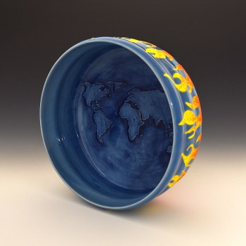 Thrown Porcelain with underglazes and glaze. Cone 6 oxidation
