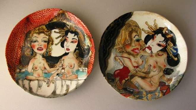 """2009, 2010 14.5x14.5"""" inscribed drawing, glazes, and stains, oxidation fired to ^10"""