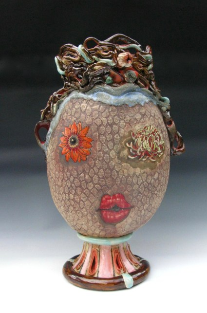 """2016 stoneware and porcelain, 26x13x10"""", hand built, inscribed drawings, glazes and stains, oxidation fired to ^8"""