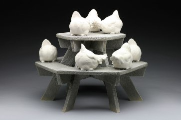 """Raft Lake Fable: """"gossip girls"""", hand built stoneware and slip cast porcelain, cone 6 oxidation, 16""""Hx17.5""""Wx17.5""""D"""