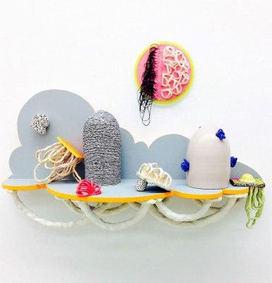 """Clay, Resin, String, Plexiglas, Wood, Foam, Yarn, Wasp Nest, Acrylic, 45x34x9"""", 2017"""