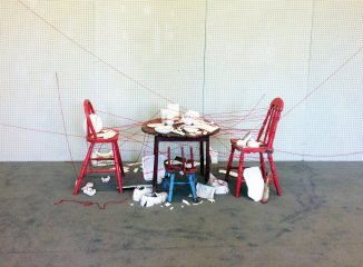Found Furniture, House Paint, Red Thread, Wheel-thrown and Slab-built Porcelain, Gas-fired, Red Thread, 8' x 8' x 4'