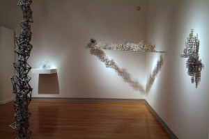 installation shot, Scripps Faculty Show, 2006, porcelaineous stoneware, cone 9, oxidation & reduction fired.