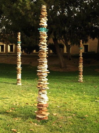 "CSU Bakersfield campus, ~108"" tall each, 2008, stoneware, cone 10 reduction, glass"