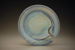 """18"""" x 18"""" x 3"""", porcelain, cobalt inlay, 2012"""