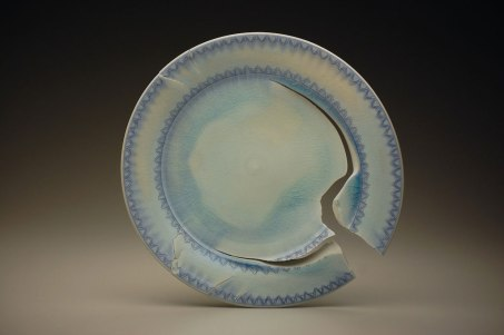 "18"" x 18"" x 3"", porcelain, cobalt inlay, 2012"