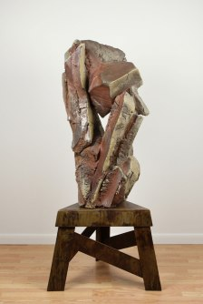 """62 x 28 x 28"""", woodfired stoneware with natural ash glaze, fabricated steel"""