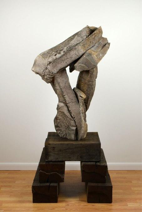 "63 x 27 x 27"", woodfired stoneware with natural ash glaze, oak beam"