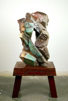 """52 x 28 x 20"""", woodfired stoneware with natural ash glaze, pine"""