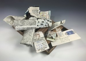 """10""""W x11""""H x15""""D, Hand built stoneware and porcelain clay, underglazes, artist made fired on decals and stamps"""
