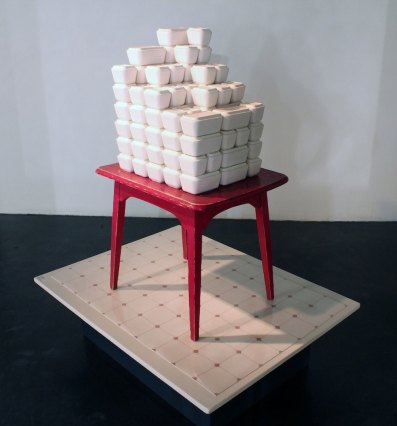 "Slip-Cast Porcelain, Linoleum, Wood and Found Table, 60"" x 36"" x 60"", 2014"
