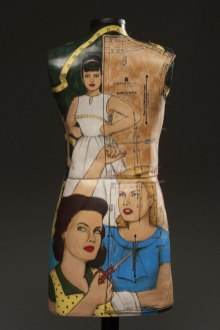 """cone 6 porcelain with underglaze illustration, print transfer, pins, wooden stand, 56""""x14""""x8"""", 2012 (back view)"""