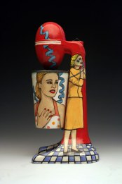 "slipcast cone 04 ceramic with underglaze illustration, 13""x5""x6.5"", 2013"