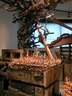 Ceramics and mixed media installation at Louisiana Artworks, New Orleans, Aug. 2008
