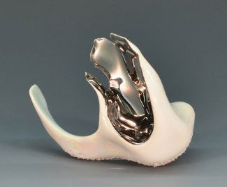 Slip-cast porcelain with low-fire glazes and lusters, Installation of multiple small sculptures