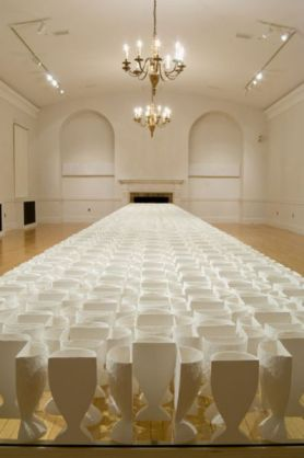 "2009. Porcelain, glass, poplar. 40' x 4' x 30"" (variable), Photo Credit: Woody Packard"