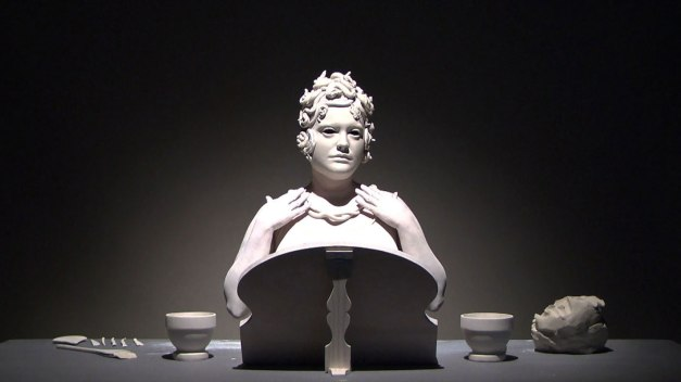 Video Still, 2011, Raw clay, Body paint, Mirror, Cast porcelain modeling tools