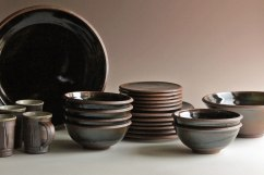 "wheel-thrown & reduction-fired stoneware, iron oxide stain, tenmoku glaze, 2"" x 16"" (platter)"