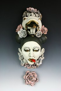 H15'' x W 6''x D8'' porcelain, under glaze, glaze and luster, wall hanging, 2015