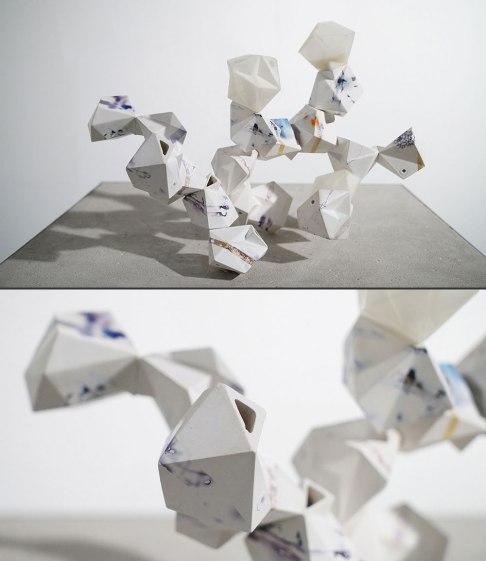 "cast porcelain, decals, 3D-printed connectors, threaded steel rod, 12 x 10 x 10"", 2016"