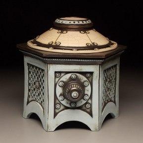 "Wheel thrown and hand built mid-range stoneware, terra sigillata, glaze, fired to Cone 6 oxidation. 8"" x 12"" x 8"". 2014"
