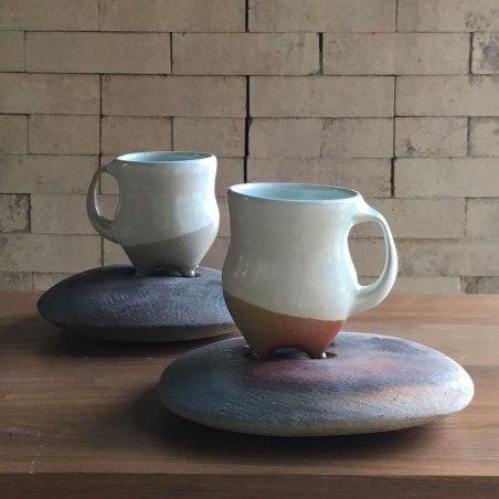 """Tara Wilson, """"Mugs with River Rock Saucers"""""""