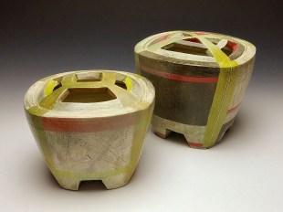 "Thrown and altered. Cone 5/6 white stoneware, underglaze, stain, glaze. 6 ½ x 6 x 6"", 7 x 6 ¼ x 6 ½"". 2017"
