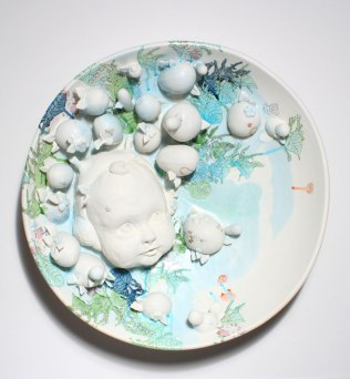 "2013, Porcelain with original silkscreened and vintage overglaze decals, Kutani raised enamels, 20"" x 20"" x 7"""