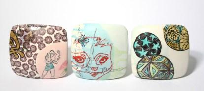 "2011-2014, Porcelain with original silkscreened and vintage overglaze decals, gold, 3"" x 3"" x 3"" each"