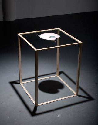 "2010, glass, wood, found and cut porcelain teapot, rubber, 36"" x 28"" x 28"""
