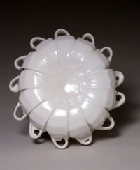 "White Oval Cup Platter, 13""h x 12.5""w x 4.5""d, post-consumer ceramic found objects and glaze, 2007"