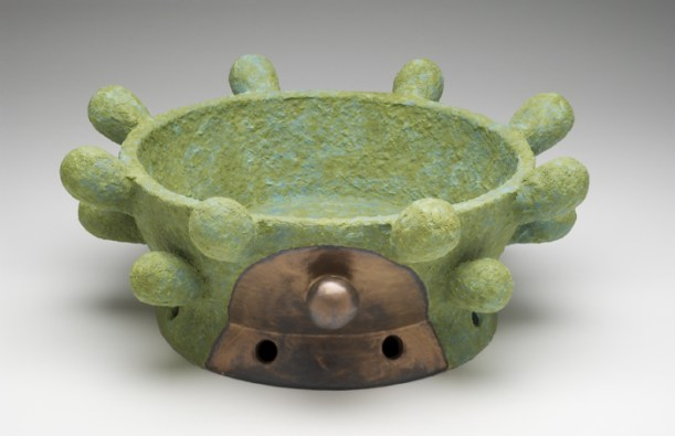 """Virginia Scotchie, """"Avocado/Bronze Knob Bowl"""""""