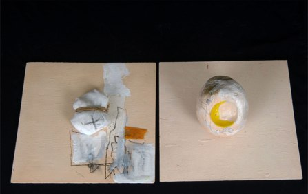 W46xh12xd 23, Earthenware clay, charcoal, fabric, rope paper, acrylic. 2011