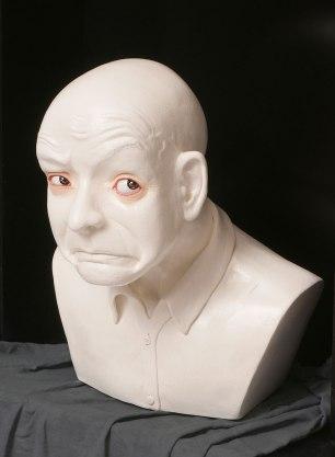 "Fired clay, paint, wood display box. 16""x12"" x7"""