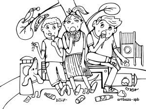уборка мусора, иллюстрация, дети мусорят