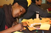 Dr Nosisipho Mngomezulu's life story appears on small orange sticky notes. IMAGE: Chelsea Haith