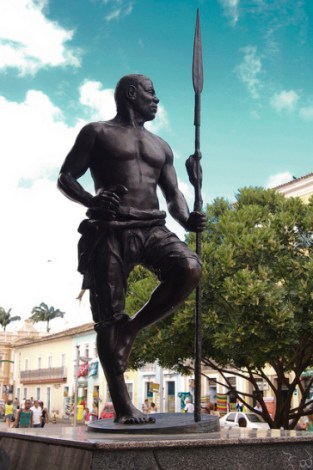A statue of Zumbi Palmares in Salvador, Brazil.