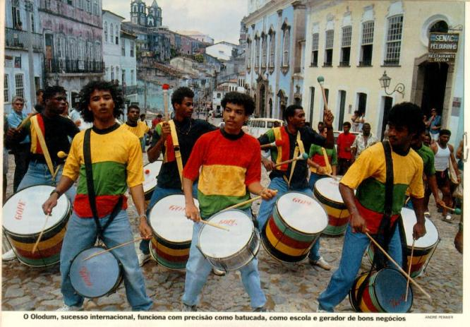A much older photo of Olodum performing on the streets of Brazil