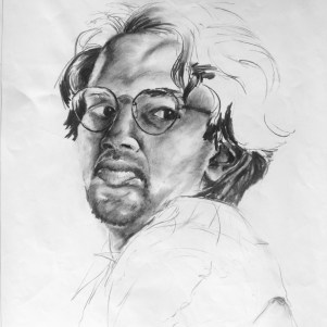 """Riason Naidoo's self portrait, """"It was done in 1993 - when I was in my 2nd year of studies in Fine Arts."""". Source: Riason Naidoo"""