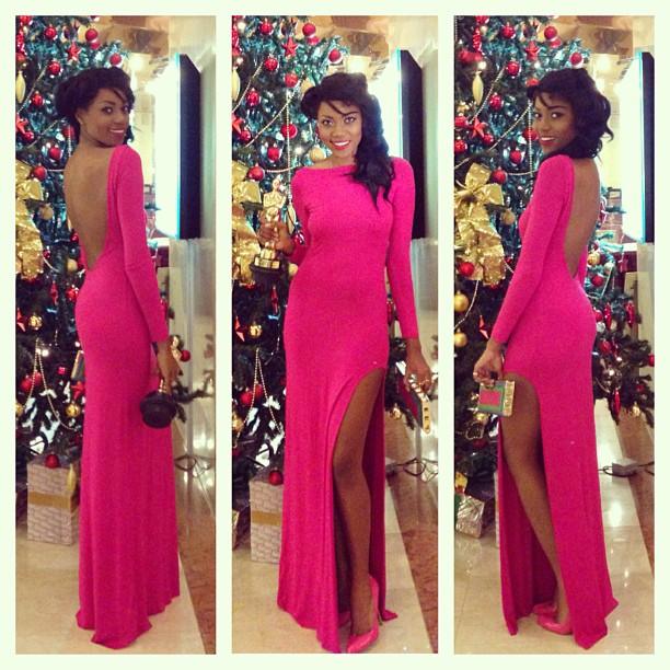 Yvonne Nelson pink dress slit