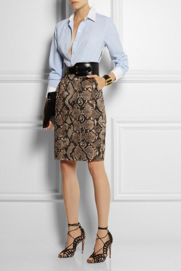 Pinstriped crepe de chine and python-print twill shirt dress,  £50