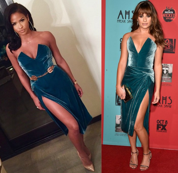 cassie and lea michele in cushnie et ochs velvet teal dress