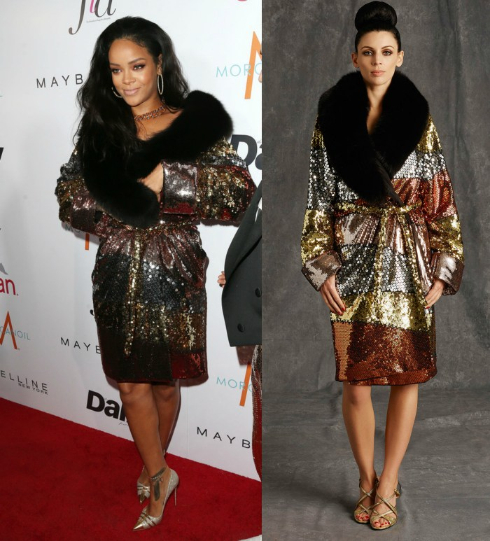 Rihanna in moschino sequin coat at daily fashion show