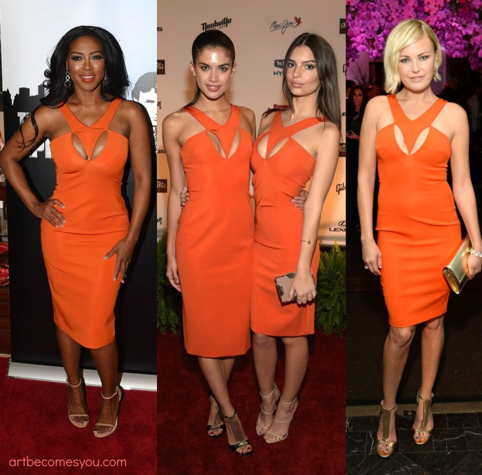 Who Styled It Better- Kenya Moore, Malin Ackerman, Sara Sampaio & Emily Ratajkowski in Cushnie et Ochs Orange Cut-Out Crepe Halter Dress