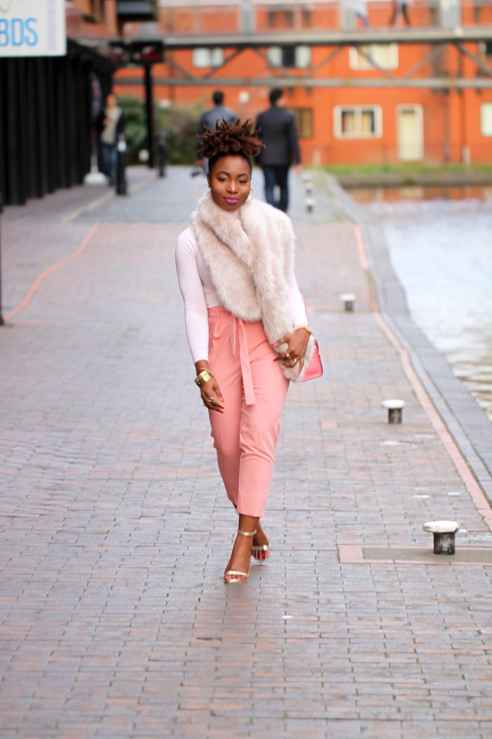 faux fur nude outfit a