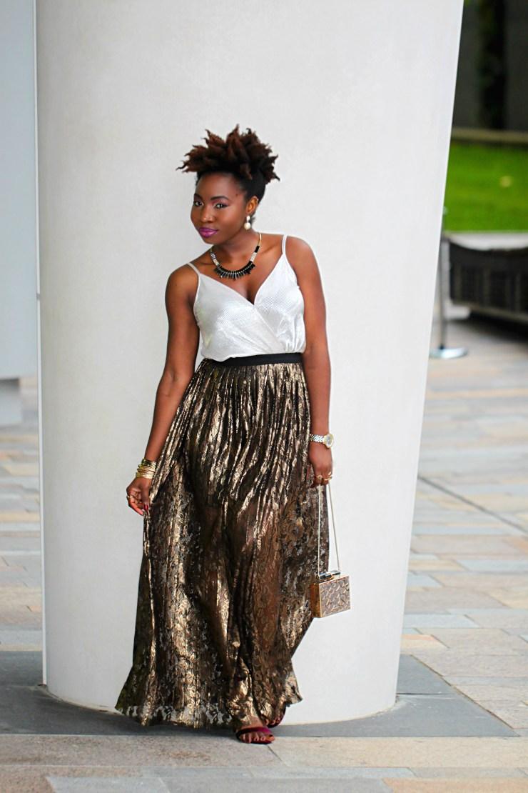 coast metallic maxi sheer skirt outfit a