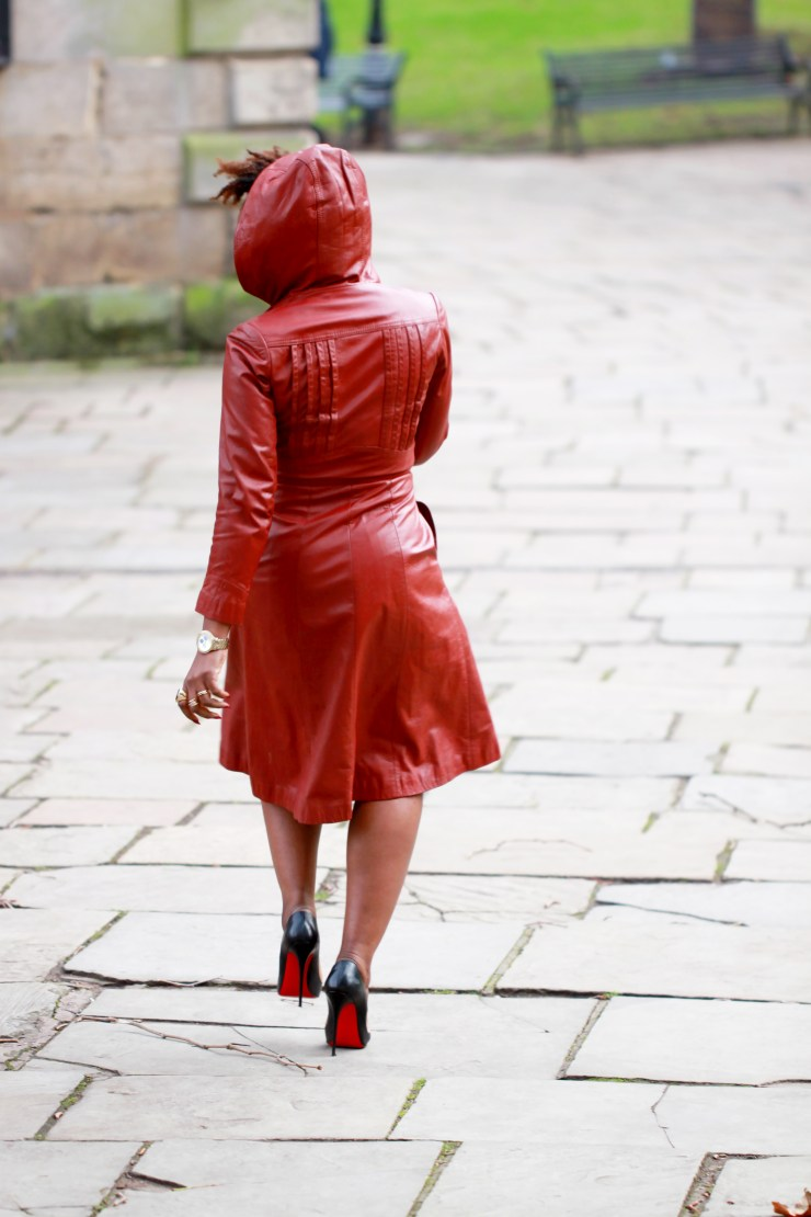 leather red riding hood coat