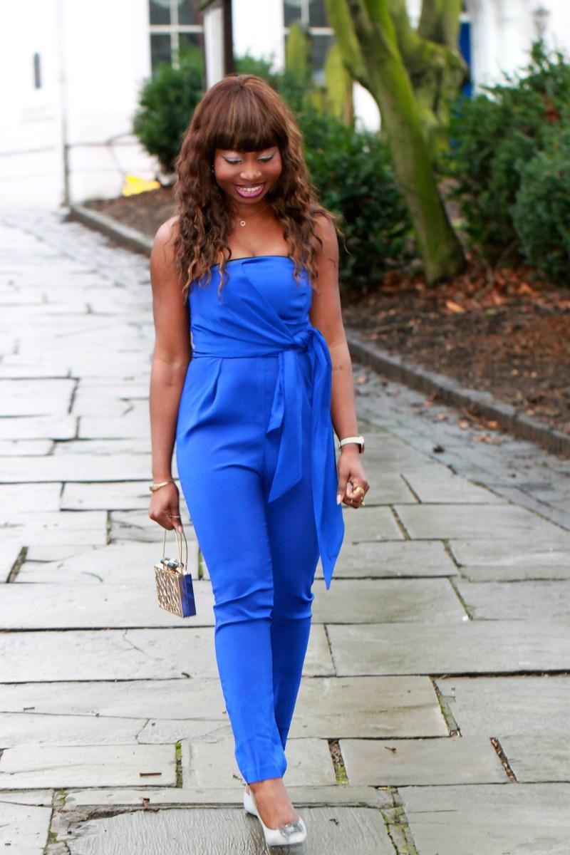 electric blue jumpsuit grey coat outfit a